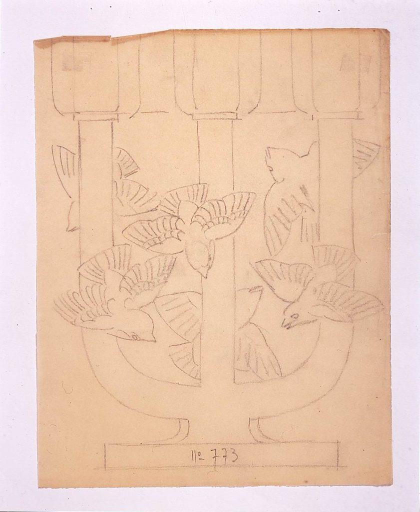 作品画像:ドローイング「電灯式多枝型燭台《ロワトレ(キクイタダキ)》」