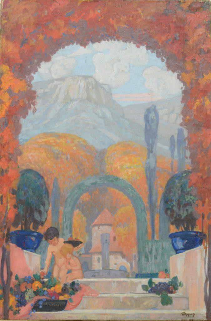 作品画像:サント=ヴィクトワール山麓 2人の子どものいるプロヴァンス地方の風景