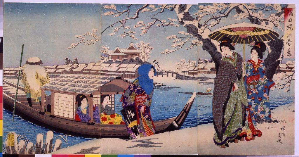 作品画像:隅田堤の雪景