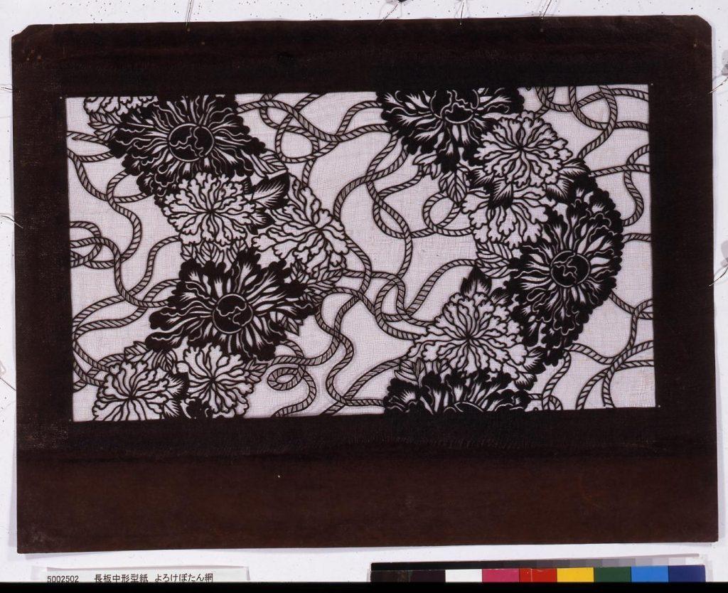 作品画像:長板中形型紙 よろけぼたん網