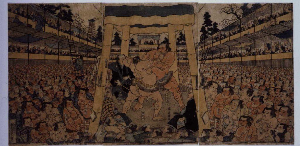 作品画像:相撲取組図
