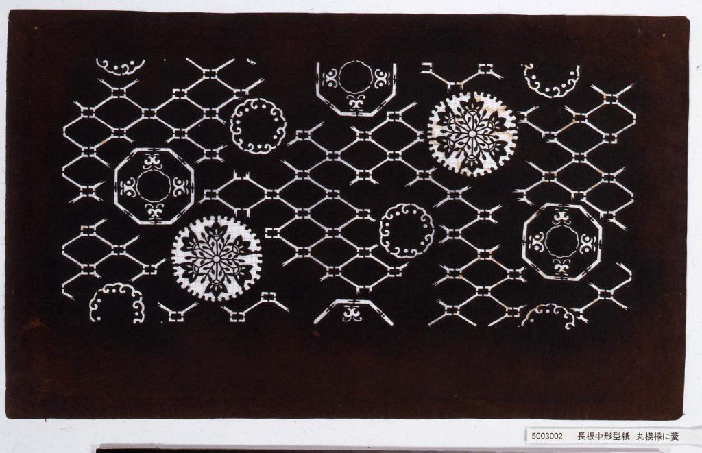 作品画像:長板中形型紙 丸模様に菱