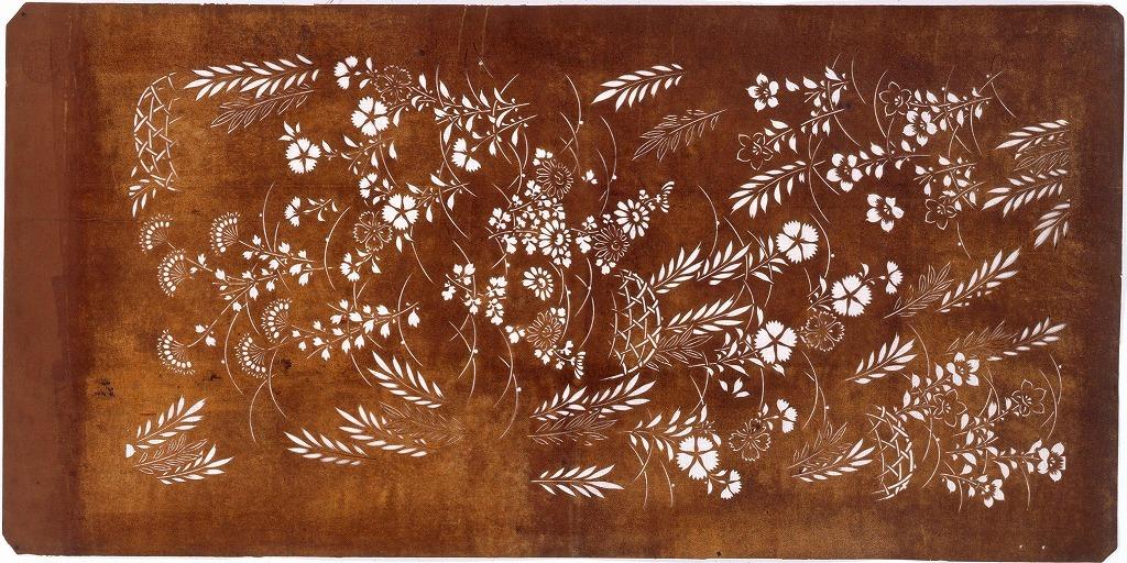 作品画像:長板中形型紙 花に蛇籠