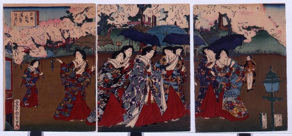 作品画像:縮緬絵 上野公園美盛桜見ノ景