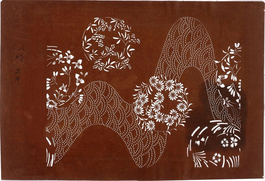 作品画像:長板中形型紙 花丸に流水(大判 追掛)