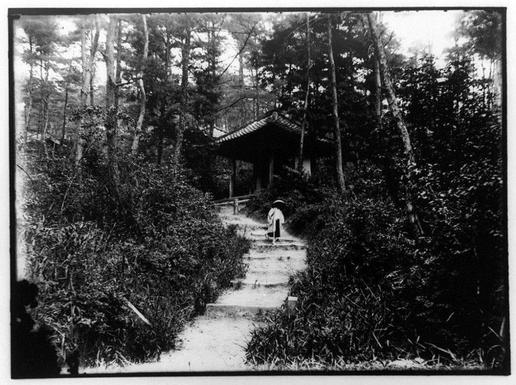 作品画像:仏堂前の道を下る僧