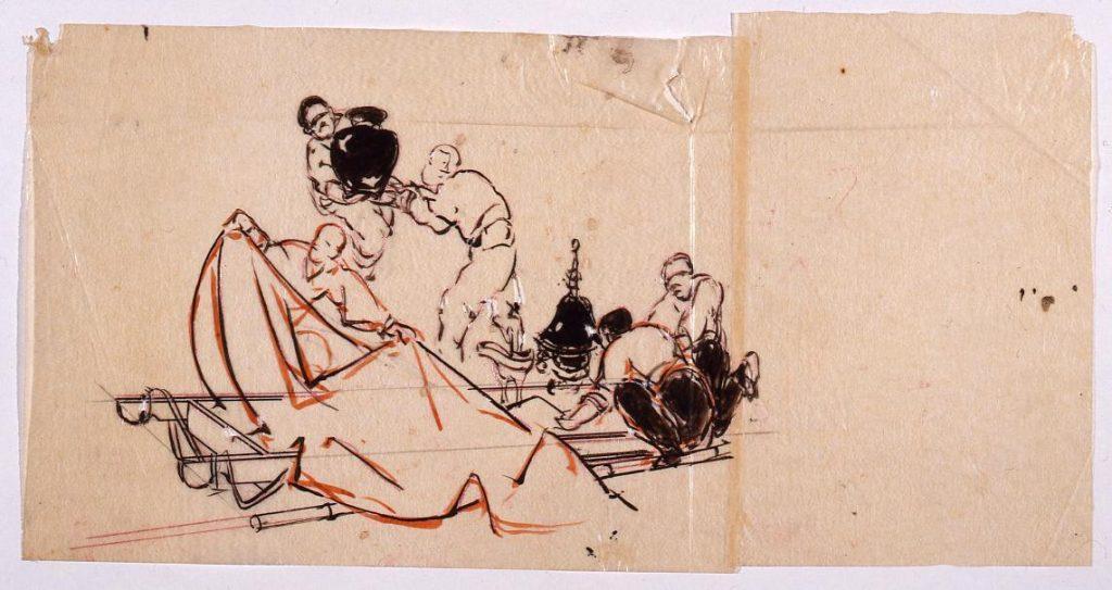作品画像:下絵 「振天府」(収蔵品を運ぶ人物)