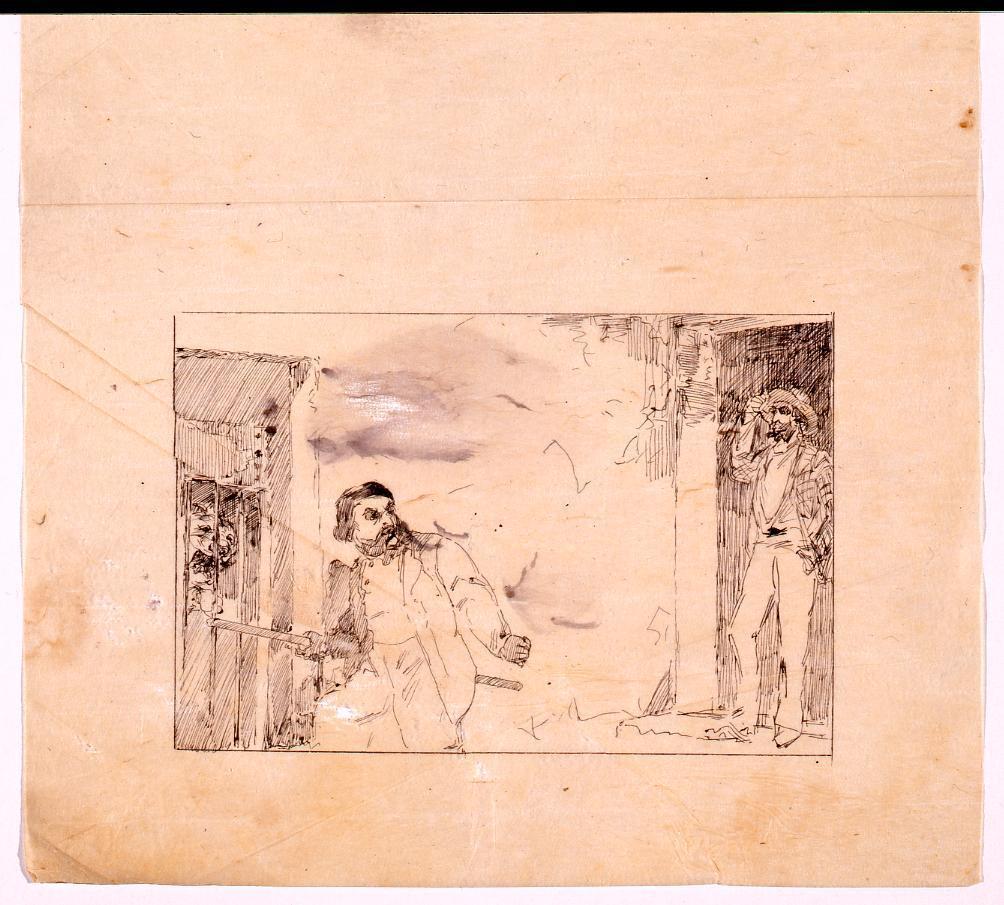 作品画像:挿図下絵 背後を振り向く男