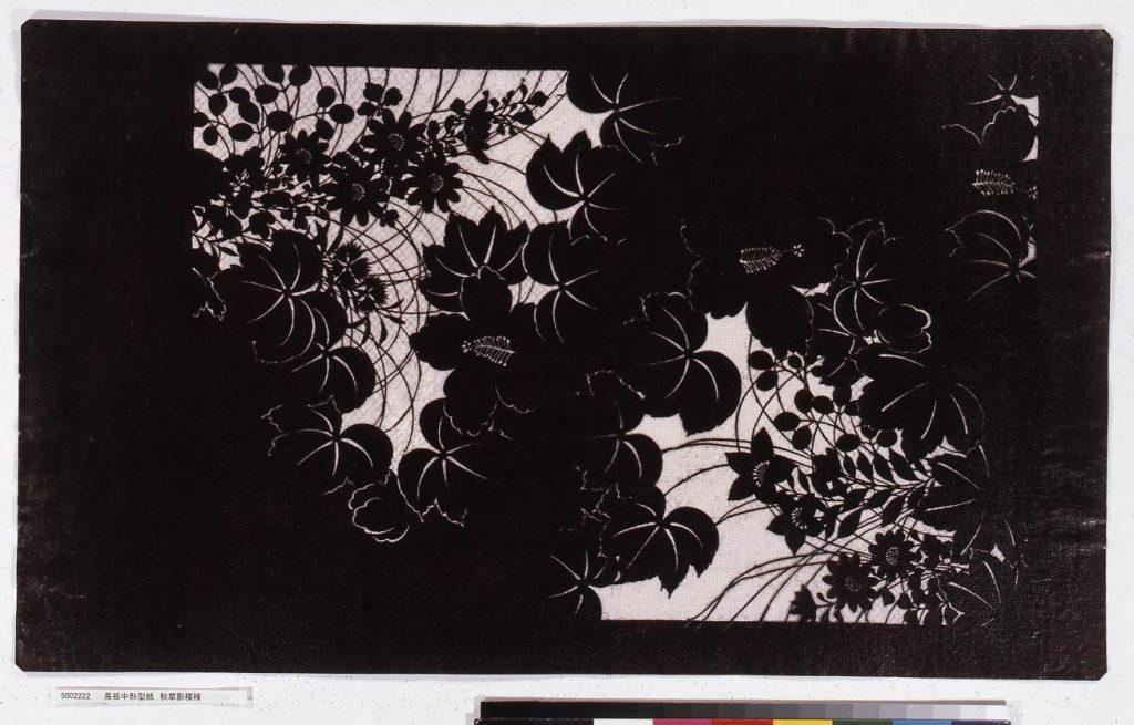 作品画像:長板中形型紙 秋草影模様