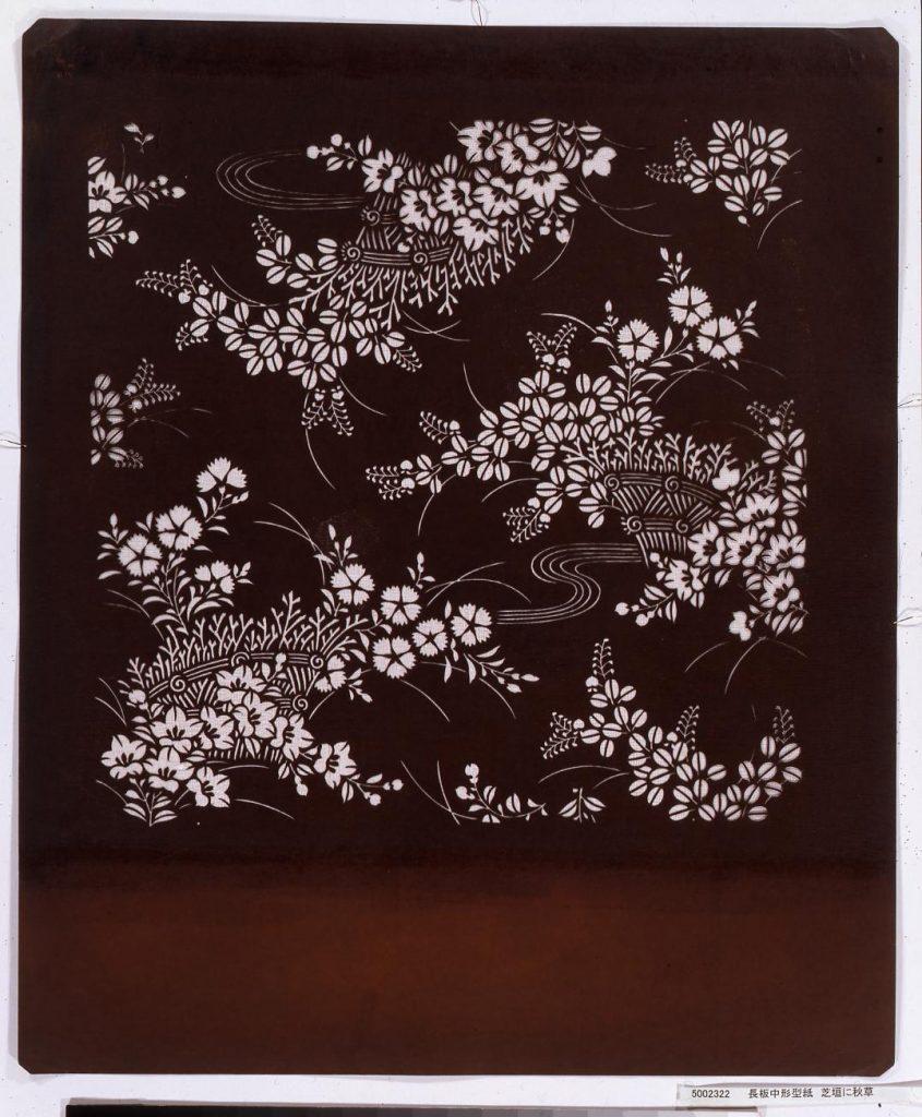 作品画像:長板中形型紙 芝垣に秋草