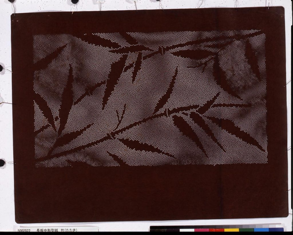 作品画像:長板中形型紙 竹(たたき)