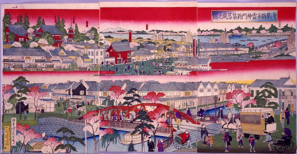 作品画像:浅草橋并雷門新築落成之図