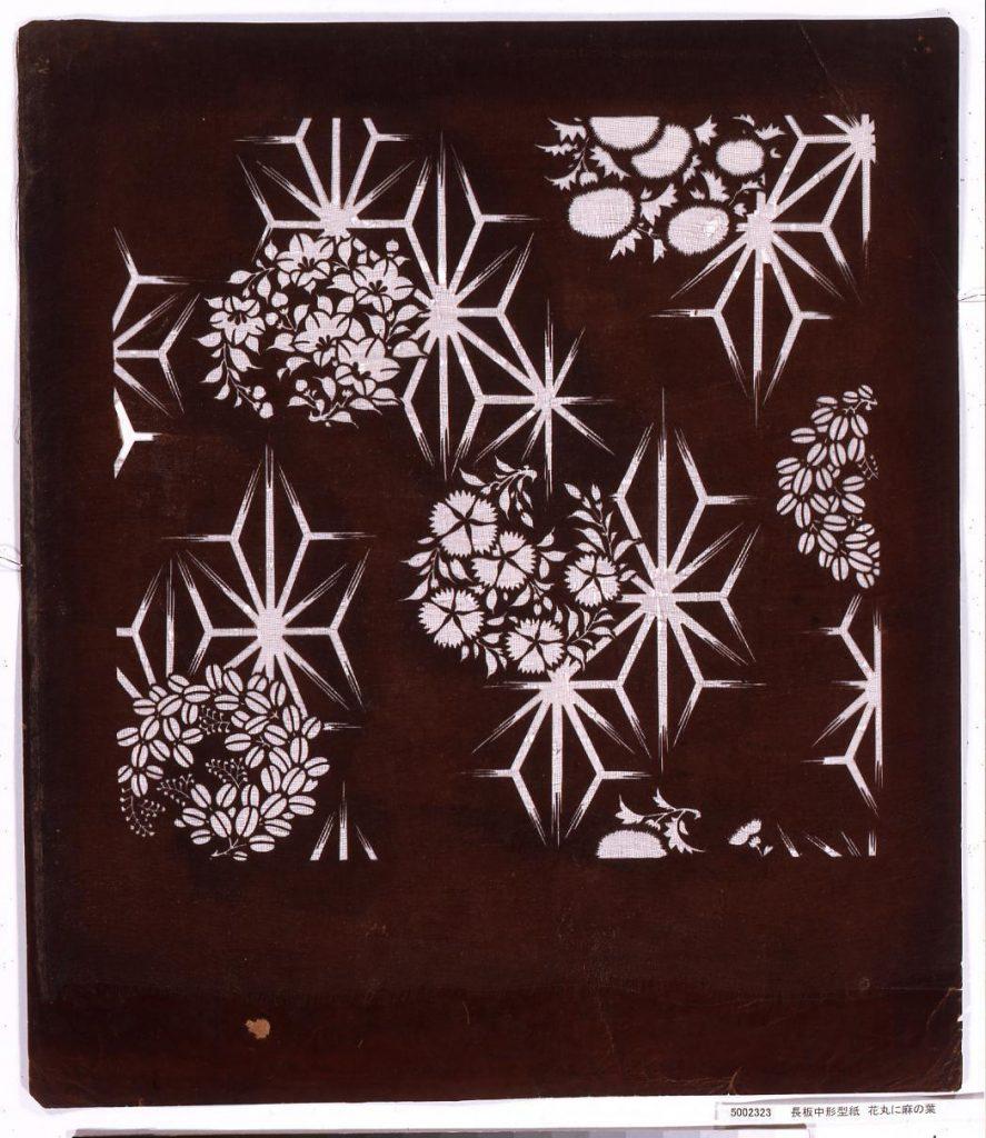 作品画像:長板中形型紙 花丸に麻の葉