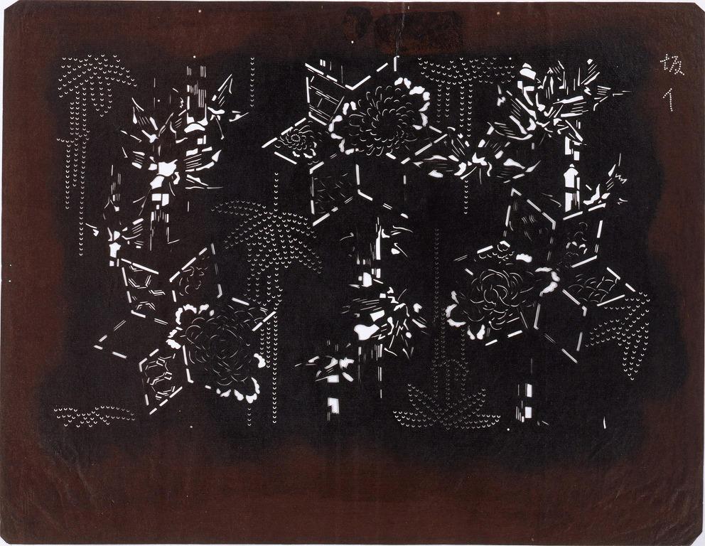 作品画像:長板中形型紙 竹に菊菱文(小判 追掛)
