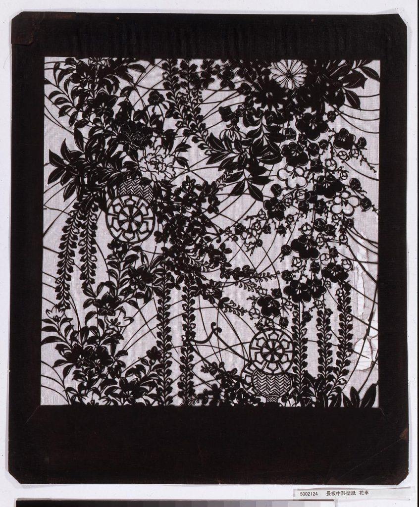 作品画像:長板中形型紙 花車