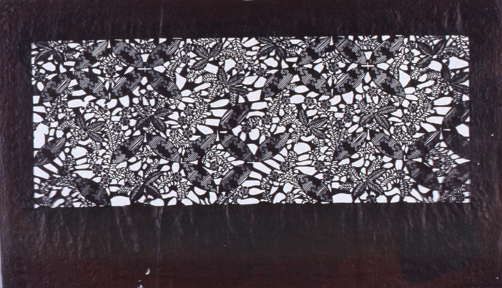 作品画像:長板中形型紙 麻葉に撫子文(追掛)