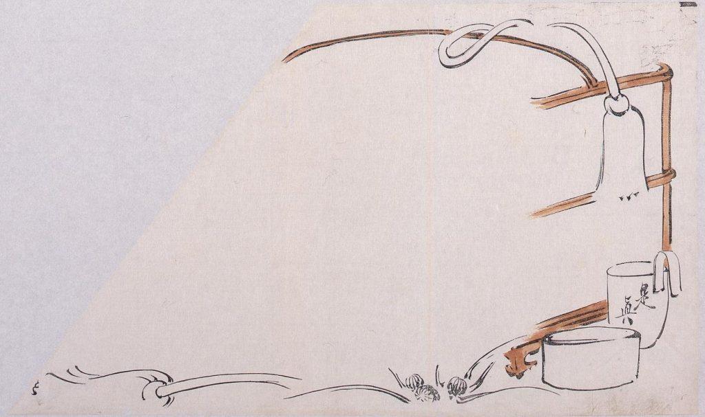 作品画像:墨版 図案 茶器と掛紐