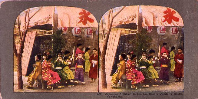 Japanese Children in the Ice Cream Vender's Booth,Yokohama.680