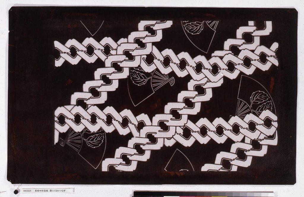 作品画像:長板中形型紙 扇にくるわつなぎ
