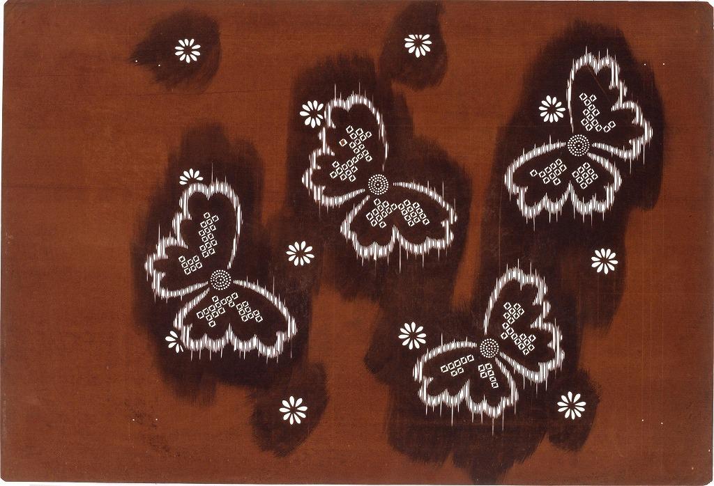 作品画像:長板中形型紙 かすり風蝶文