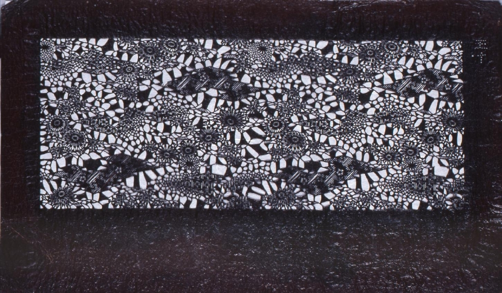 作品画像:長板中形型紙 変わり菱に鉄線文(追掛)