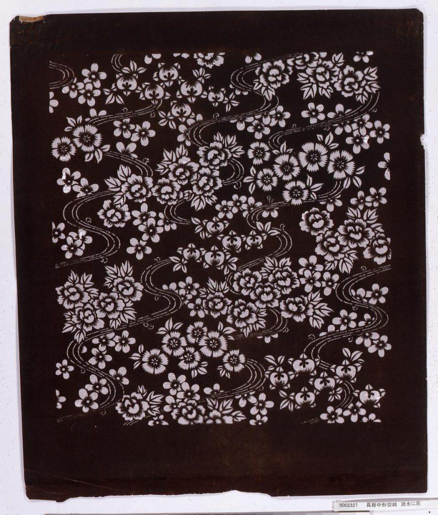 作品画像:長板中形型紙 流水に花