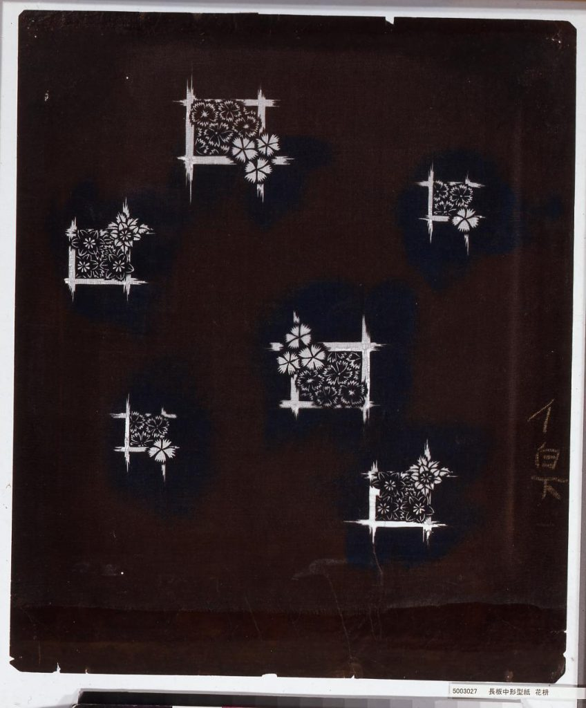 作品画像:長板中形型紙 花枡
