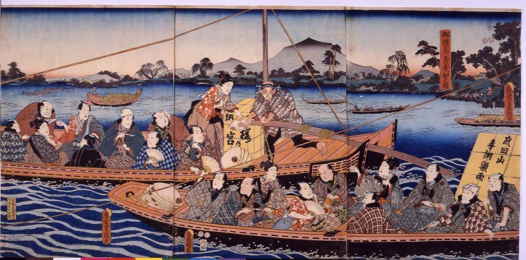 作品画像:御礼参り贔屓船之図(成田山詣)
