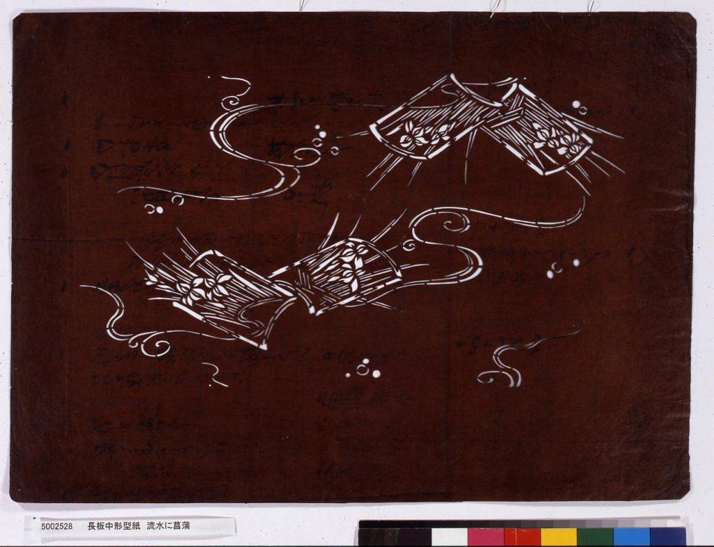 作品画像:長板中形型紙 流水に菖蒲
