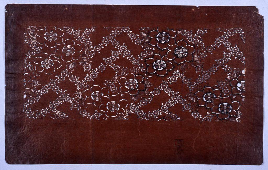 作品画像:長板中形型紙 花桧垣文 (小判 追掛)
