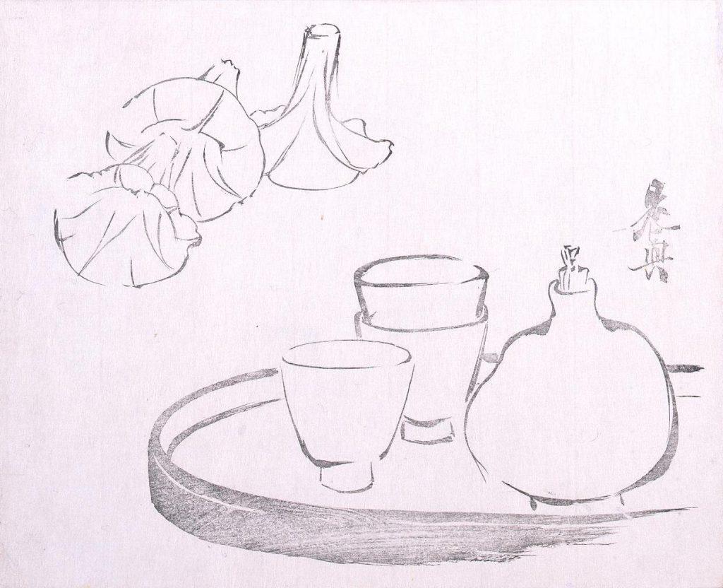作品画像:墨版 酒器と朝顔