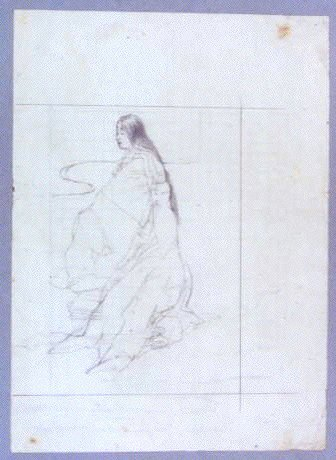 作品画像:下絵 十二単姿の女性/素描 樹木