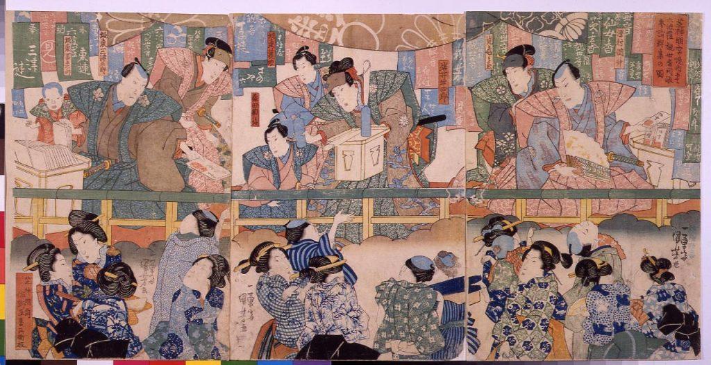 作品画像:芝神明宮境内にて六波羅観世音開帳参詣群集の図