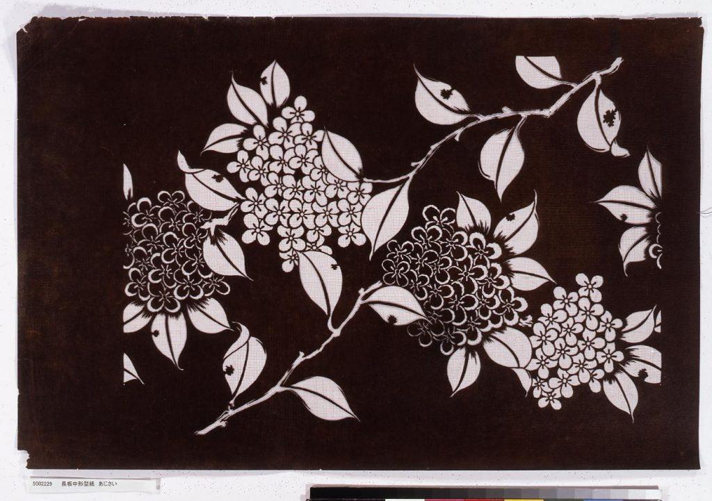 作品画像:長板中形型紙 あじさい
