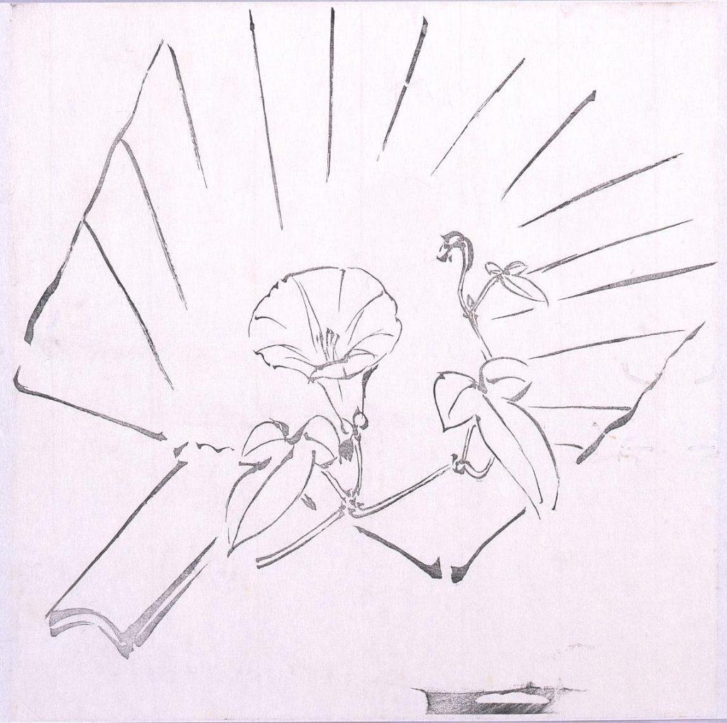 作品画像:墨版 団扇と朝顔