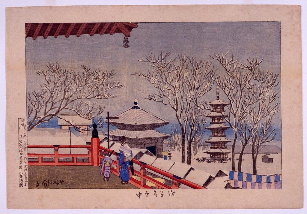 浅草寺雪中