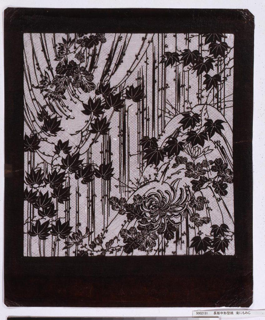 作品画像:長板中形型紙 滝にもみじ