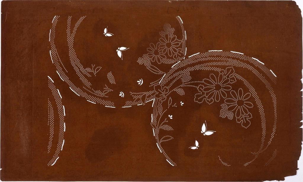 作品画像:長板中形型紙 花丸に蝶(大判 追掛)