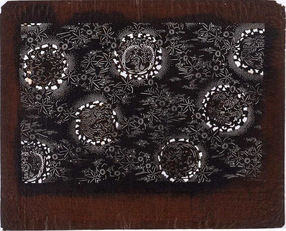 作品画像:長板中形型紙 たたき丸文(小判 追掛)