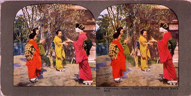 Yokohama,Japan.Four Girls Playing Blind Man's Buff.689