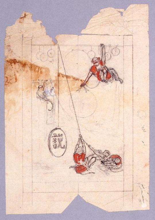 作品画像:下絵 『新小説』第11年第3巻表紙  戯猿