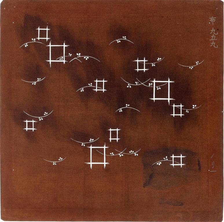 作品画像:長板中形型紙 露草に格子