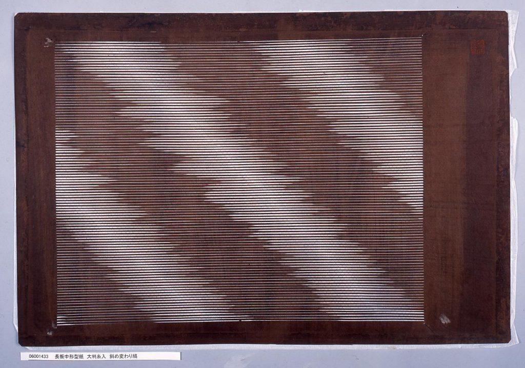 作品画像:長板中形型紙 大判糸入 斜め変わり縞