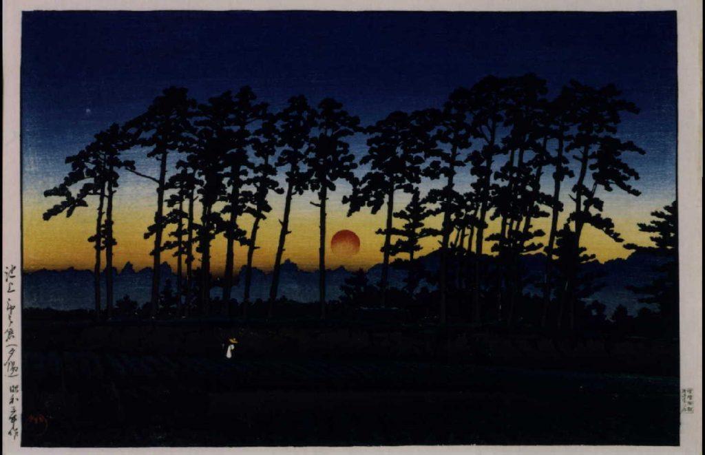 作品画像:東京二十景 池上市の倉(夕陽)