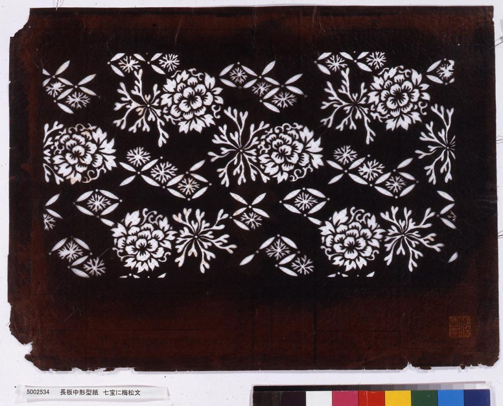 作品画像:長板中形型紙 七宝に梅松文