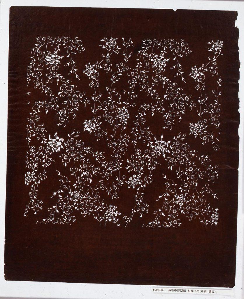 作品画像:長板中形型紙 紅葉に花(中判 追掛)