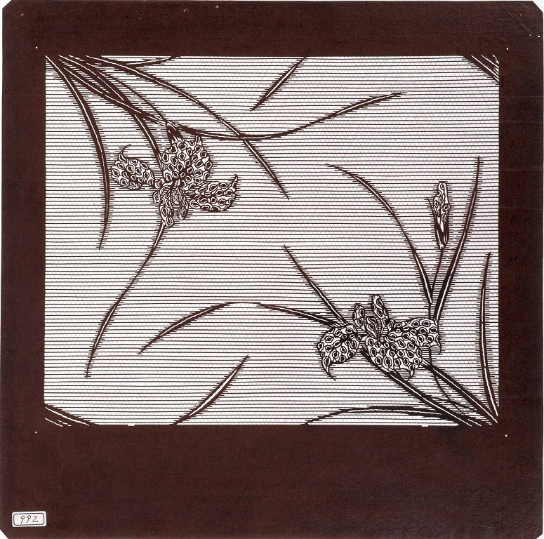 作品画像:長板中形型紙 あやめに横縞