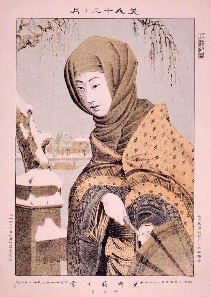 作品画像:美人十二ケ月 元柳橋の雪 十二月