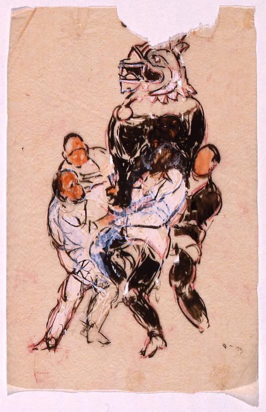 作品画像:下絵 「振天府」(獅子像を運ぶ人物)