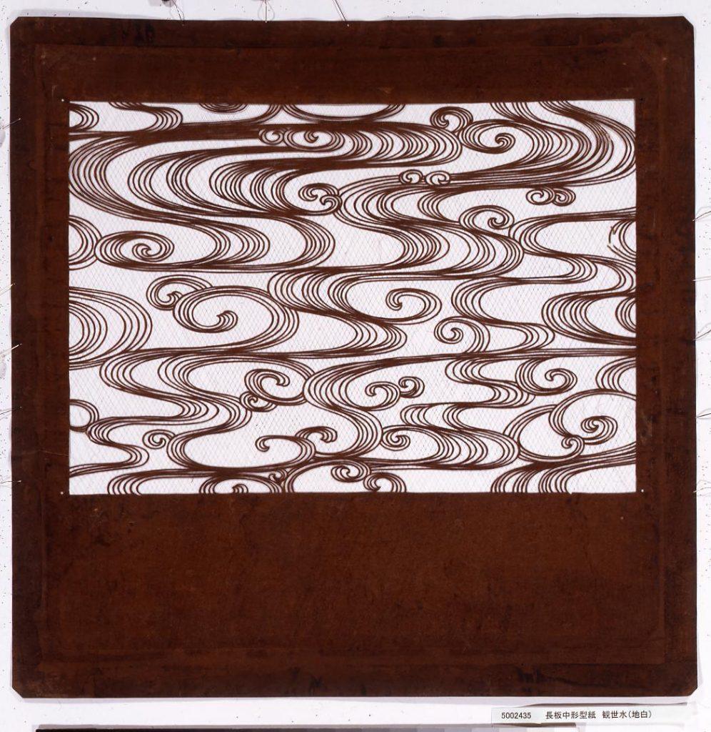 作品画像:長板中形型紙 観世水(地白)